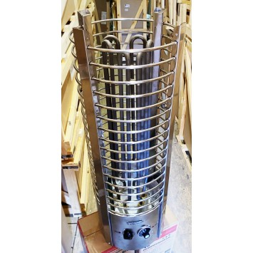 """Электрокаменка ЭКМ 6 кВт """"Tower - Башня"""" со встроенным терморегулятором и таймером  (нержавеющая сталь)"""